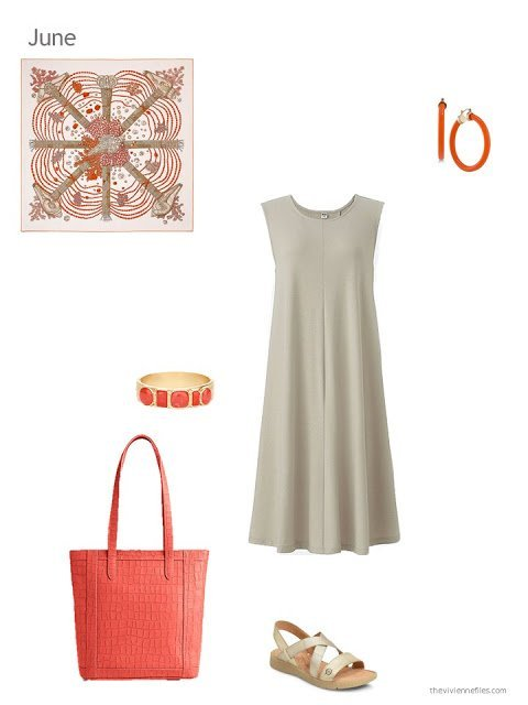 a beige dress with orange accessories for summer