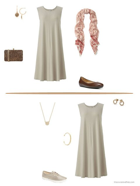 two ways to style a beige dress for summer