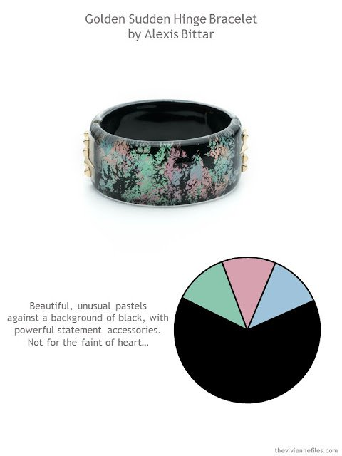 Alexis Bittar bracelet in black with muted pastels and gold studs with style guidelines and color palette