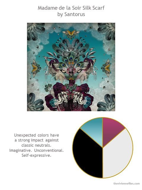 Madame de la Soir silk scarf by Santorus with style guidelines and color palette