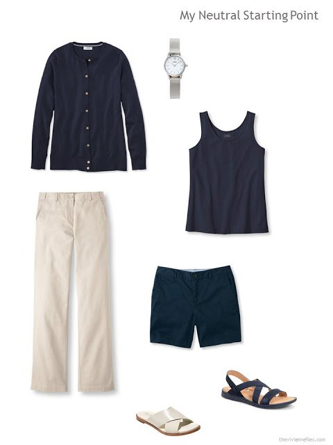 summer wardrobe key pieces in navy and beige