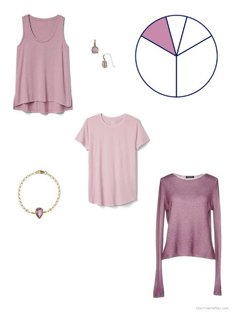 travel capsule wardrobe additions in shades of muted mauve pink