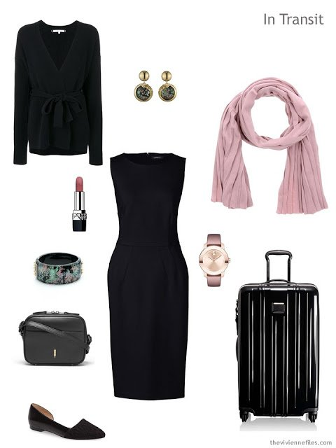 business travel outfit in black and pink