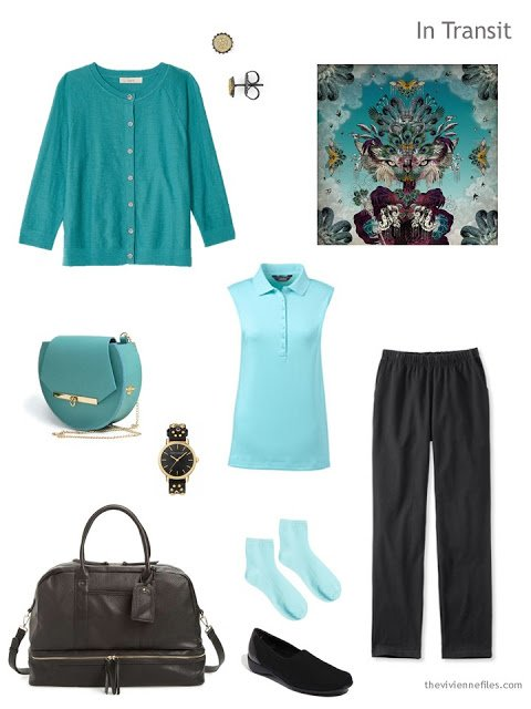 travel outfit in shades of teal with black