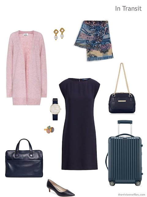 business travel outfit in navy and pink
