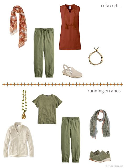 2 ways to style olive pants from a warm weather travel capsule wardrobe