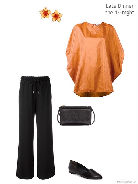 black trousers and softly draped pumpkin silk blouse