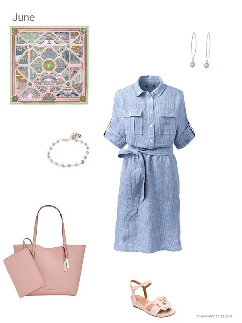 a chambray dress with pink accessories for summer