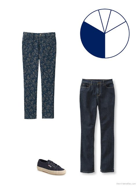 two pair of navy trousers to add to a warm weather travel wardrobe