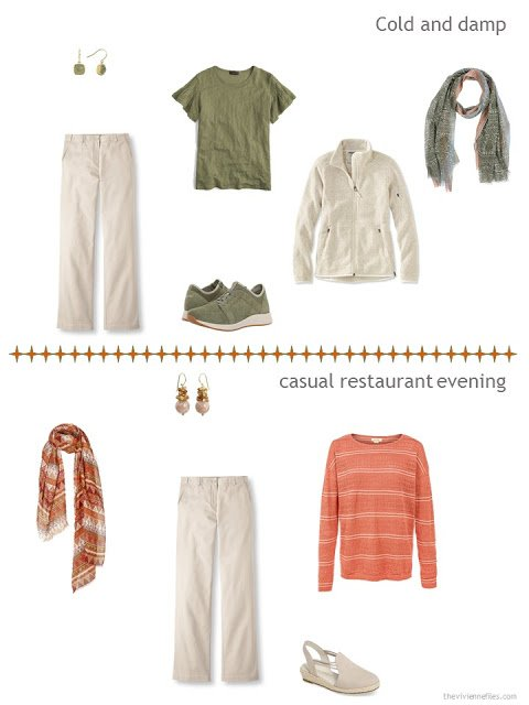 2 ways to style beige pants from a warm weather travel capsule wardrobe