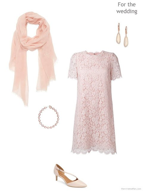 pink lace wedding dress with accessories