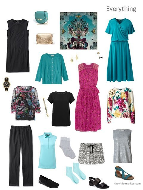 9-piece travel capsule wardrobe in black, silver, teal and hot pink