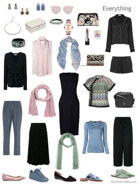 travel capsule wardrobe in black with muted pastels