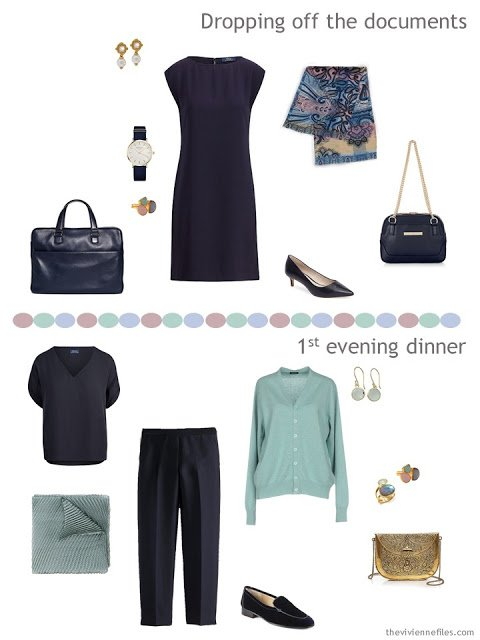 2 outfits from a navy, green, pink and blue business travel capsule wardrobe
