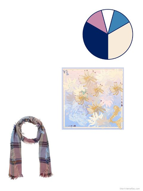 adding 2 scarves to a travel capsule wardrobe in denim, khaki, mauve pink and dark pastel blue