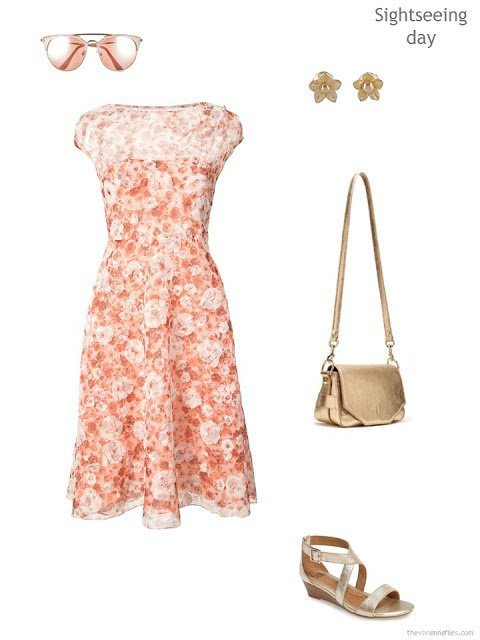 pink and orange floral lace dress with accessories