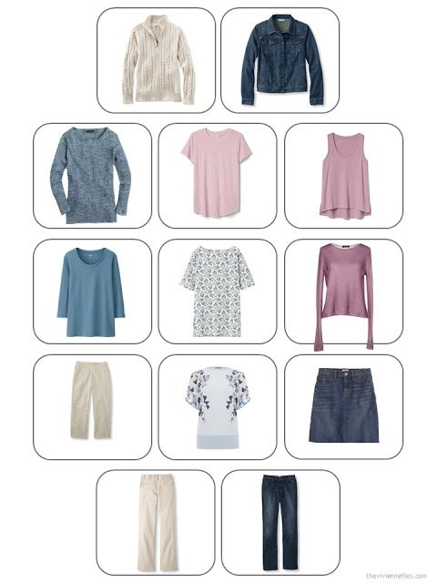 13-Piece Whatever's Clean Travel Wardrobe in denim, khaki, soft mauve pink and dark pastel blue