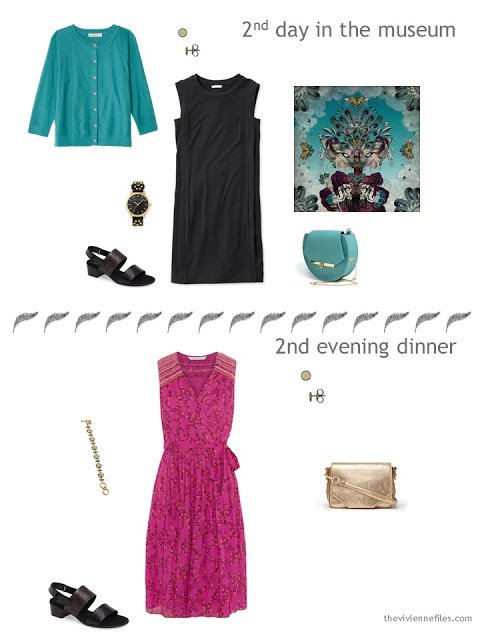 two outfits from a travel capsule wardrobe in teal, hot pink, black and silver