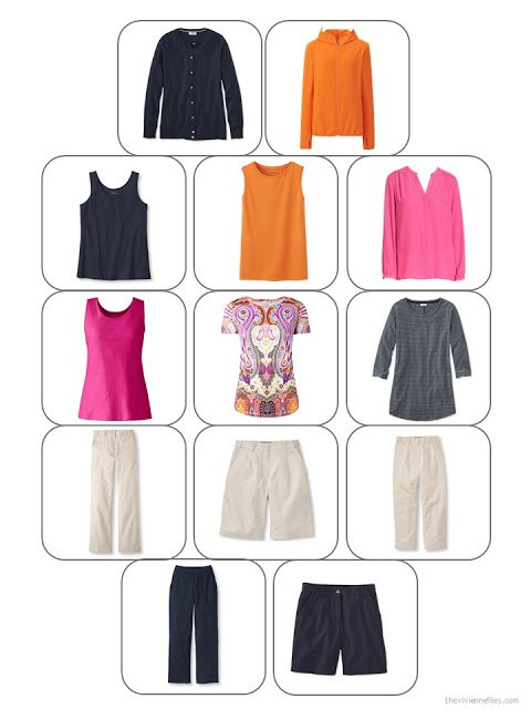a 13-piece travel capsule wardrobe in navy, beige, hot pink and orange, shown in a wardrobe planning template