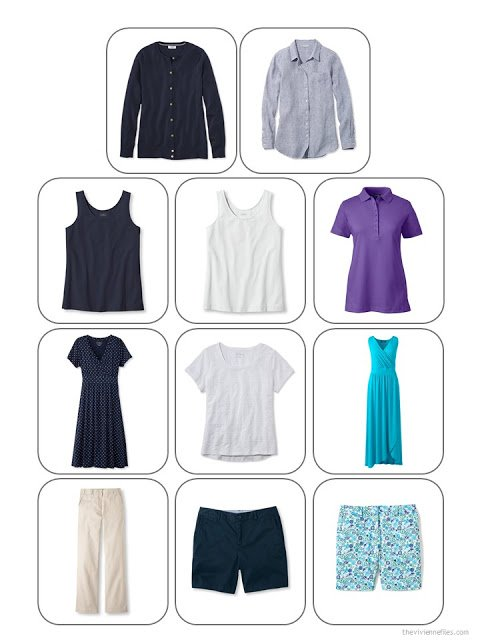 an 11-piece travel capsule wardrobe in navy, beige, white, purple and turquoise, for warm weather