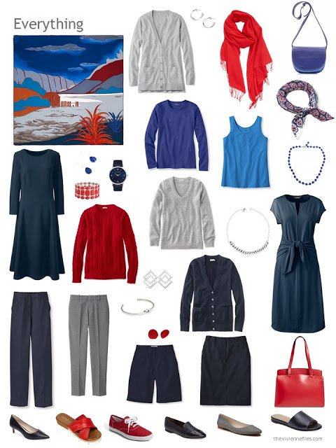 a travel capsule wardrobe in navy, grey, blue and red