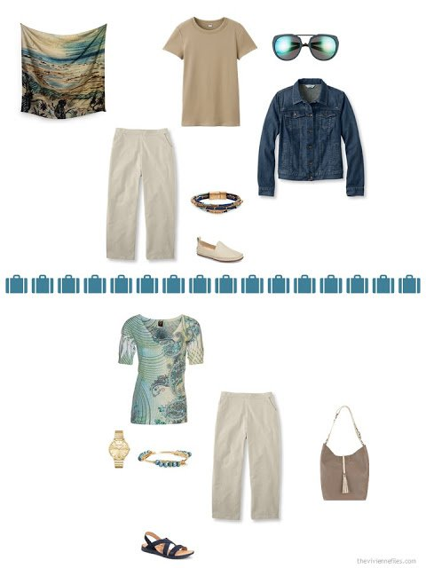 2 ways to style khaki capris from a capsule wardrobe in denim, khaki, teal and camel