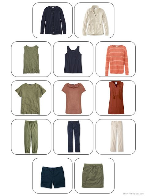 Whatever's Clean 13-piece warm-weather travel capsule wardrobe in navy, beige, olive and rust