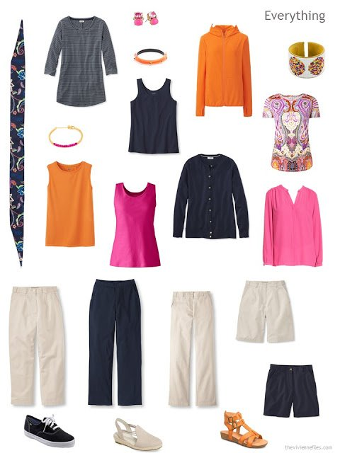 a 13-piece travel capsule wardrobe in navy, beige, hot pink and orange