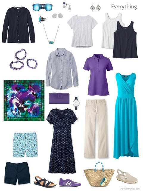 a travel capsule wardrobe in navy, white, beige, purple and turquoise