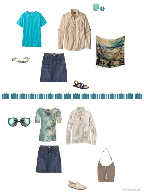 2 ways to style a denim skirt from a capsule wardrobe in denim, khaki, teal and camel