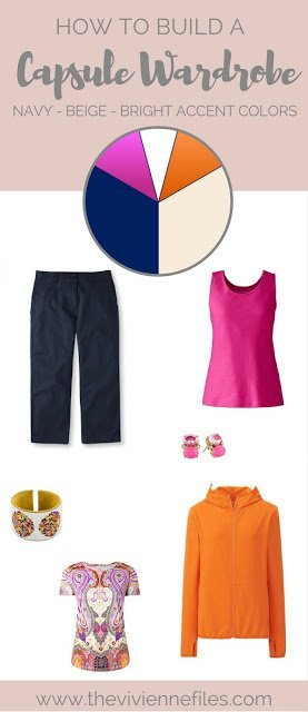 NEVER Wear Pink and Orange Together??? Humbug... Accenting Navy and Beige with Unexpected Bright Colors