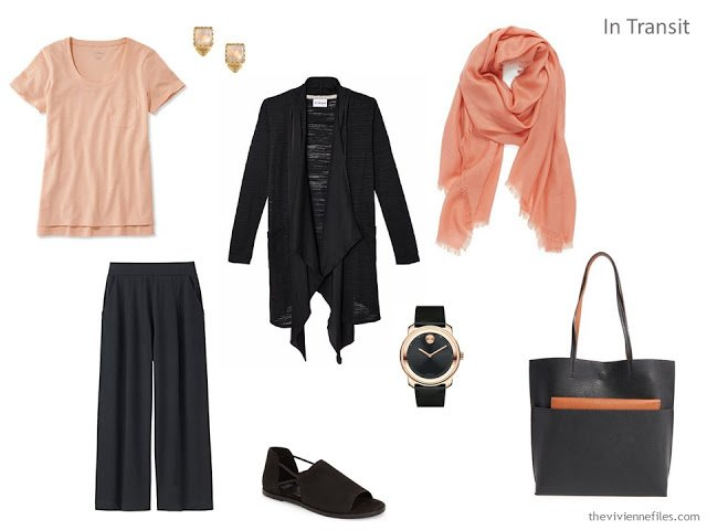 black and orange travel outfit