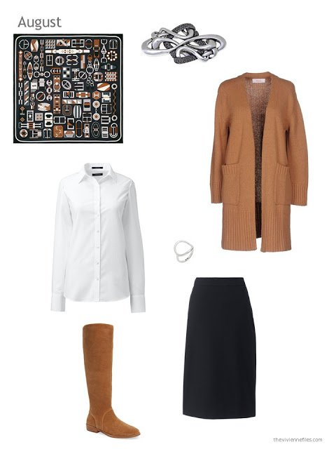 a skirt outfit in camel, black and white with an Hermes scarf