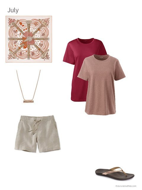 red and beige additions to a capsule wardrobe