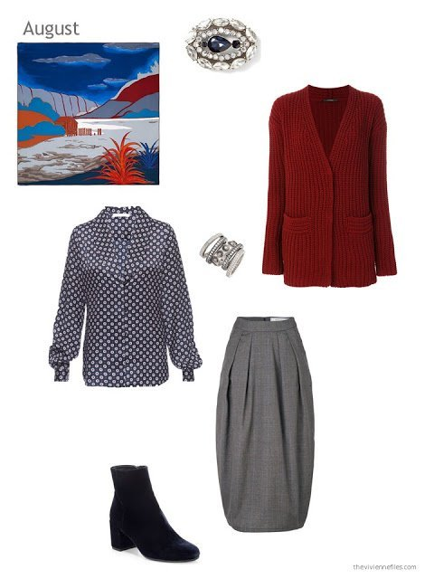 wine cardigan, foulard-print blouse and grey skirt with the Hermes scarf Au Bout du Monde