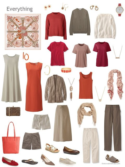 a capsule wardrobe in shades of brown with red and orange accents