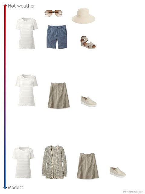 3 ways to style a striped top from a travel capsule wardrobe