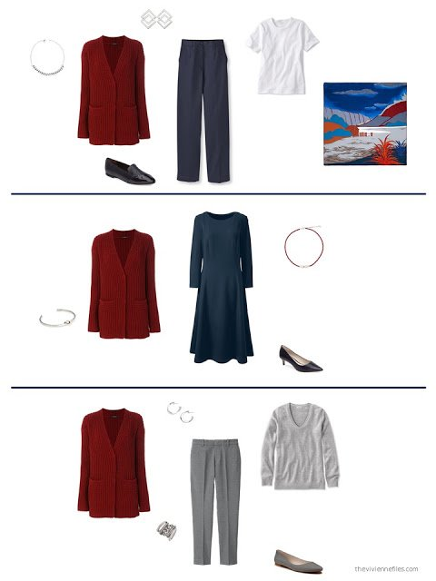 3 ways to style a wine cardigan from a capsule wardrobe
