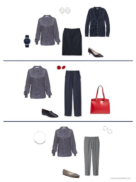 3 ways to style a navy print blouse from a capsule wardrobe