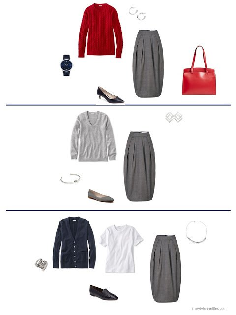 3 ways to style a grey skirt from a capsule wardrobe