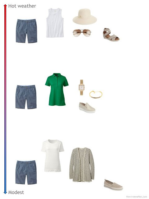 3 ways to style chambray shorts from a travel capsule wardrobe