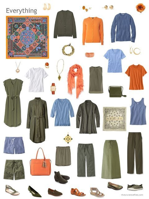 a capsule wardrobe in olive with blue and orange accents, based on the Hermes scarf Collections Imperiales