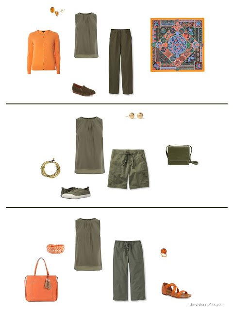 3 ways to style an olive top in a capsule wardrobe