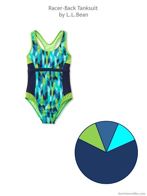 a navy and shades of blue swimsuit with a color palette drawn from it