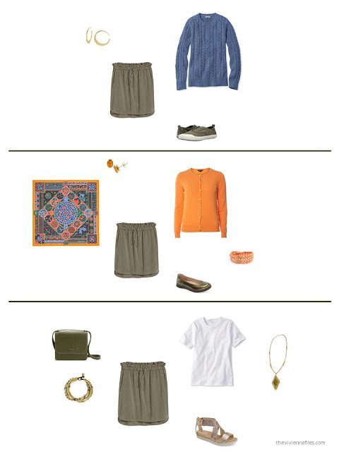 3 ways to style an olive skirt in a capsule wardrobe