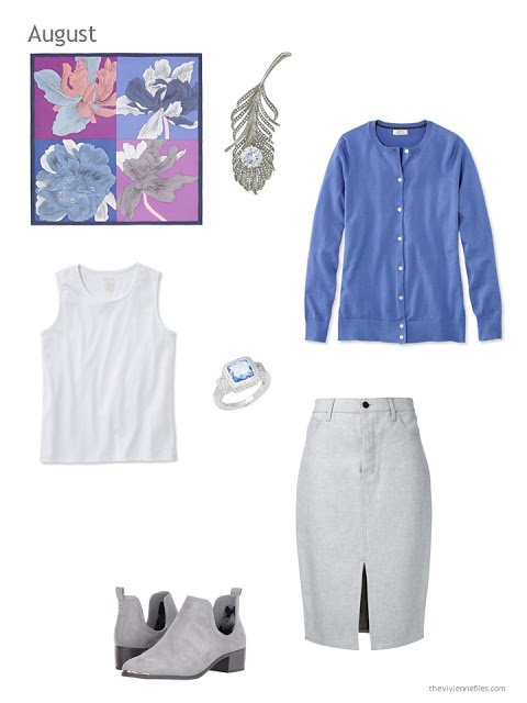 a skirt outfit in grey, white and blue with the Hermes scarf Etude pour un Irish Arc-en-ciel