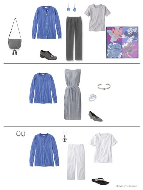 3 ways to style a blue cardigan in a capsule wardrobe