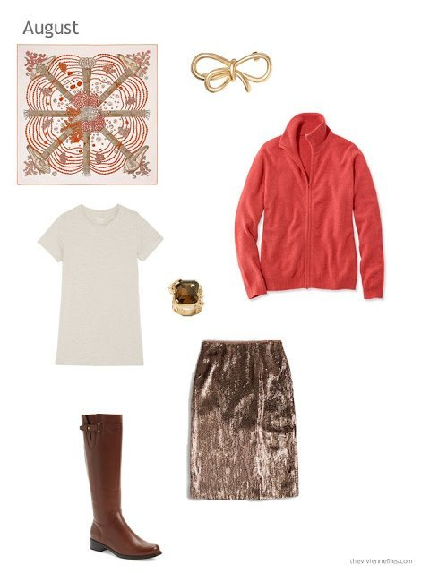 a sequined skirt outfit with the Hermes scarf Chemins de Corail
