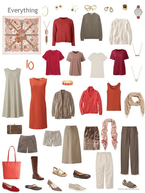a capsule wardobe in shades of beige and brown, with orange and red accents, based on the Hermes scarf Chemins de Corail