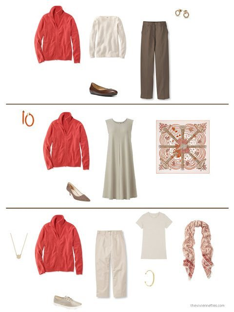 three ways to style a persimmon cashmere cardigan in a capsule wardrobe